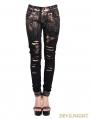 Devil Fashion Steampunk Denim Jeans for Women