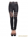Devil Fashion Black Asymmetric Design Gothic Legging for Women