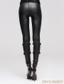 Devil Fashion Black Skull Rivet Gothic Punk Legging for Women