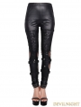 Devil Fashion Black Skull Rivet Gothic Punk Legging for Women
