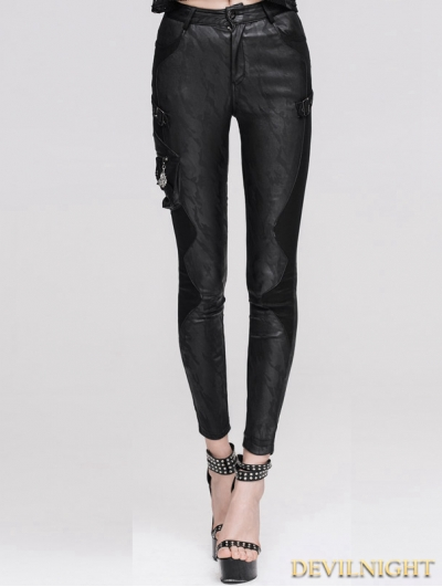 Devil Fashion Black Jacquard Gothic Leather Legging for Women