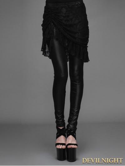 Black Gothic Lace Tassel Skirt Legging for Women