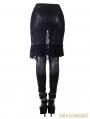 Devil Fashion Black Gothic Lace Tassel Skirt Legging for Women