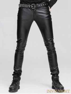 Devil Fashion Black Tight Gothic Leather Pants for Men