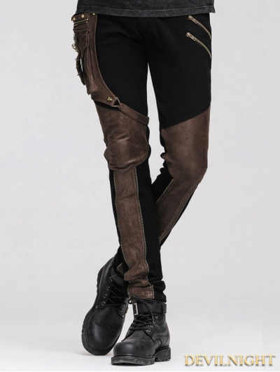 Devil Fashion Steampunk Pants with Coffee Pocket for Men