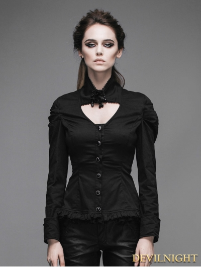 Devil Fashion Black Long Sleeves Pendant Romantic Gothic Shirt for Women