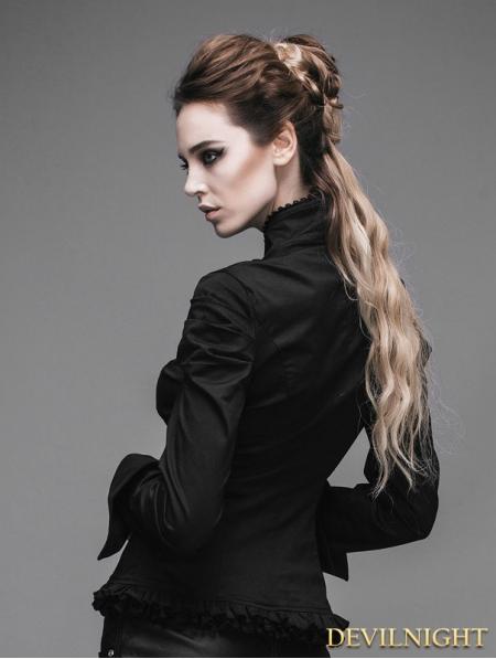Black Long Sleeves Pendant Romantic Gothic Shirt For Women