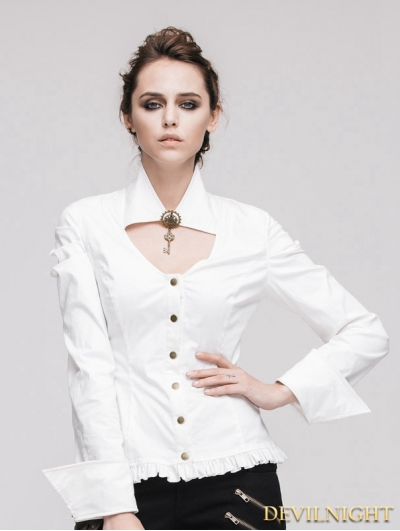 White Long Sleeves Steampunk Shirt for Women