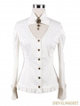 Devil Fashion White Long Sleeves Steampunk Shirt for Women