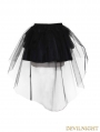 Devil Fashion Black Tulle Short Gothic Skirt