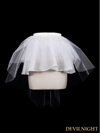 Devil Fashion White Tulle Short Gothic Skirt
