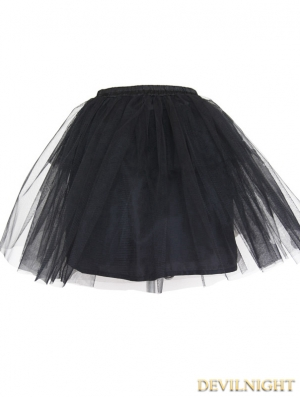 Devil Fashion Black Multilayer Tulle Short Gothic Skirt