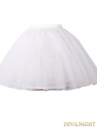Devil Fashion White Multilayer Tulle Short Gothic Skirt