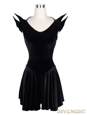 Devil Fashion Black Gothic Halloween Style Short Dress