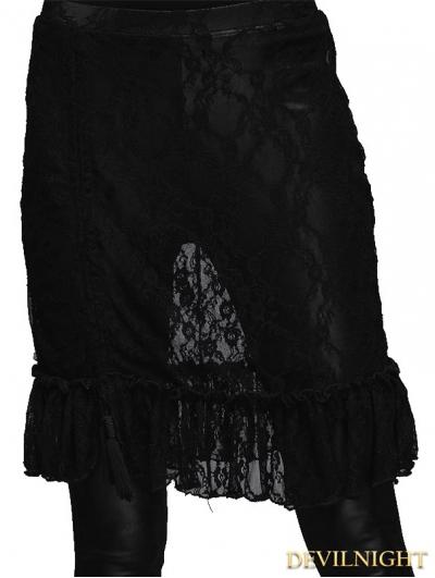 Devil Fashion Black Lace Asymmetric Gothic Skirt