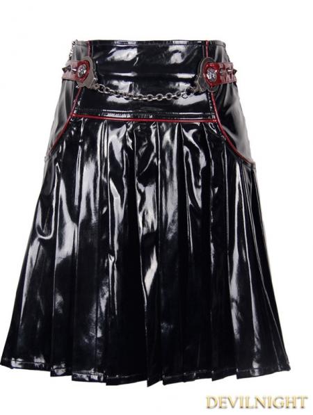 black pvc pleated skirt devilnight co uk