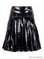 Devil Fashion Black PVC Pleated Gothic Short Skirt