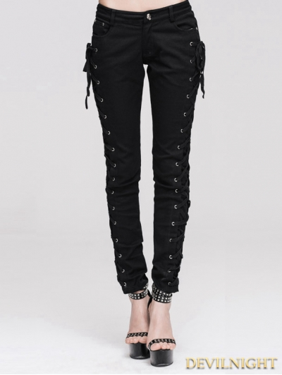 Devil Fashion Black Lace-up Gothic Pants for Women