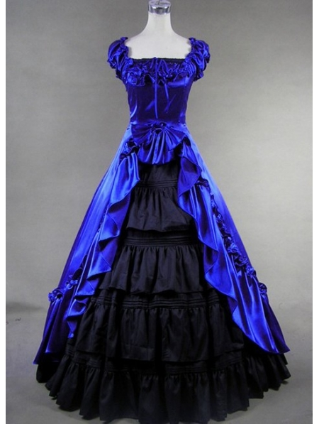 blue and black classic gothic victorian dress devilnight