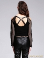 Devil Fashion Black Off-the-shoulder Gothic Sexy Shirt for Women