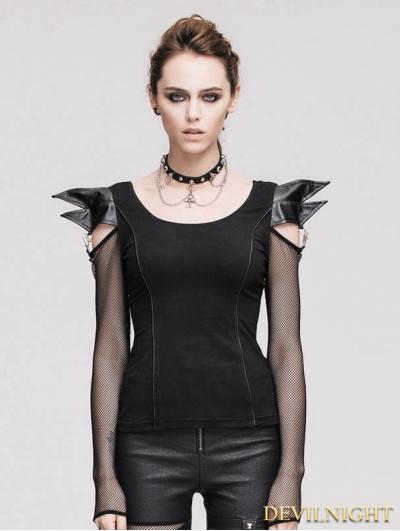 Devil Fashion Black Gothic Demon Long Sleeves T-shirt for Women