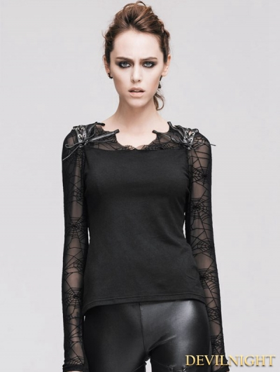Devil Fashion Black Cobweb Gothic T-shirt for Women