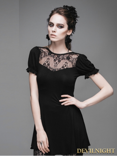 Devil Fashion Black Short Sleeves Gothic Long Shirt for Women