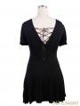 Devil Fashion Black Short Sleeves Gothic Long Shirt for Women