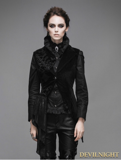 Black Swallow Tail Gothic Waistcoat for Women