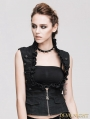 Devil Fashion Black Strips Thoracotomy Gothic Waistcoat for Women