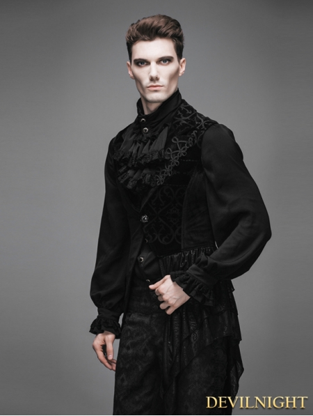 Black Swallow Tail Gothic Waistcoat For Men Devilnight Co Uk