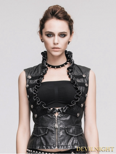 Do Old Style Sliver Gothic Leather Waistcoat for Women
