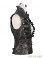Devil Fashion Do Old Style Sliver Gothic Leather Waistcoat for Women