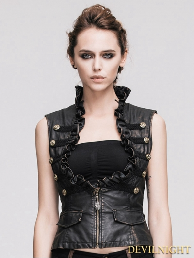 Devil Fashion Do Old Style Bronze Gothic Leather Waistcoat for Women