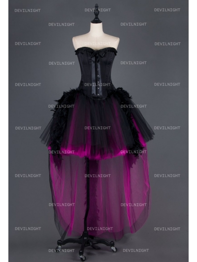 Black and Fuchsia High-Low Feather Gothic Prom Party Dress