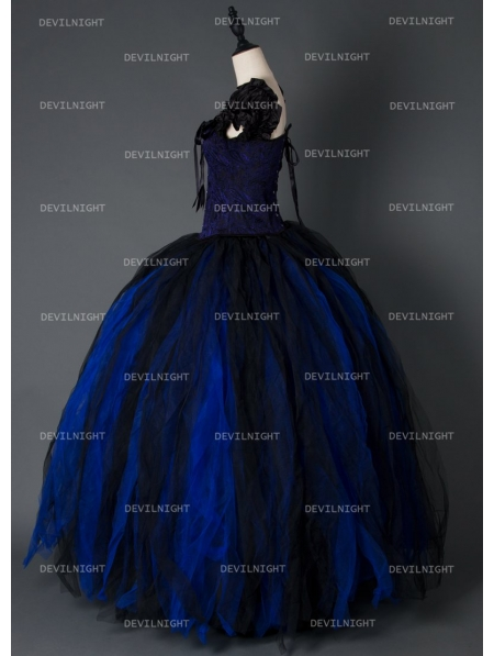 black and blue gothic long prom corset dress devilnight