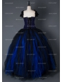 Black and Blue Gothic Long Prom Corset Dress