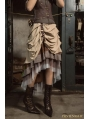 Brown Steampunk Irregular Long Skirt