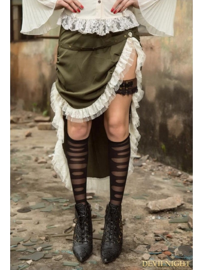 Army Green Steampunk Hign-low Skirt