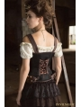Black and Brown Steampunk Vest with Collar for Women