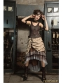 Brown Steampunk Vest with Collar for Women