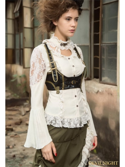 White Steampunk Lace Long Sleeve Blouse for Women