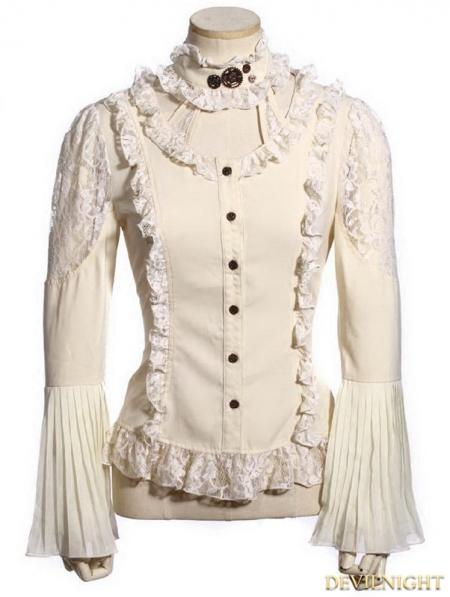 Women'S White Blouse Long Sleeve 39