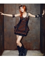 Black and Brown Steampunk Stripe Sleeveless Dress