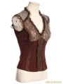 Brown Steampunk V-Neck Sleeveless Top for Women