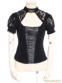 Black Steampunk Lace Short Sleeves Shirt for Women