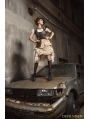 White and Brown Steampunk Lace Irregular Skirt with Bag