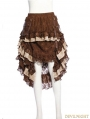 Brown Steampunk Lace Irregular Skirt