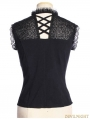 Black Steampunk V-Neck Sleeveless Top for Women