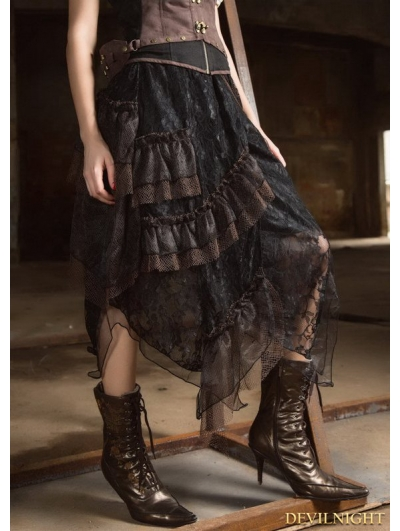 Black Steampunk Lace Layers Long Irregular Skirt